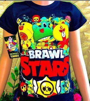 Светящаяся футболка «Brawl stars» герои черная