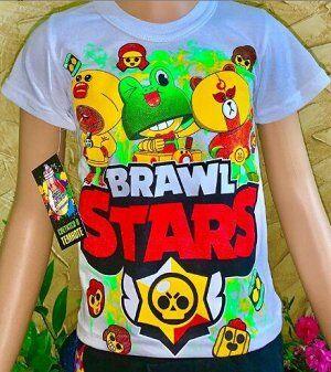 Светящаяся футболка «Brawl stars» герои белая