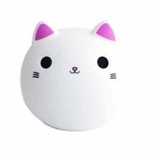 Силиконовый светильник-ночник Кот розовый