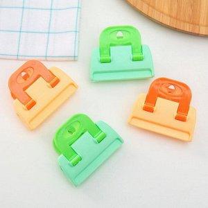 Зажим-прищепка для пакетов, набор 4 шт, цвет МИКС