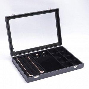 Подставка под украшения, 4 ряда, 6 крючков, 8 ячеек, стеклянная крышка, цвет чёрный