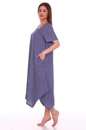 Платье Ткань: Кулирка; Состав: 100% хлопок; Размеры: 56, 58, 60; Цвет: Синий