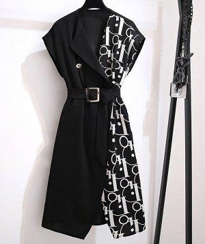 Платье черное с поясом