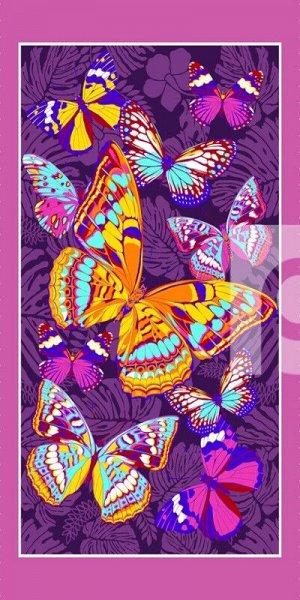 """Полотенце Вафельное банное """"Бабочки Фиолетовые"""""""