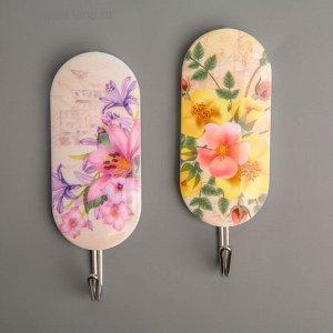 Набор крючков на липучке «Полевые цветы», 2 шт