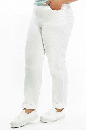 Брюки-2187 Материал: Хлопок стрейч;   Фасон: Брюки Брюки джинса с отворотом белые Брюки-стрейч отлично подойдут для повседневного гардероба. Модель хорошо сидит за счет комфортной резинки на поясе. Им