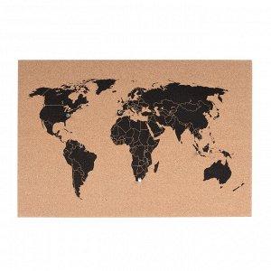 Панно CF PT2889 Карта мира из пробки