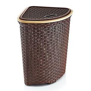 Корзина для белья 52л плетеная угловая коричневая, 570 х 485 х 390 мм, 1/8