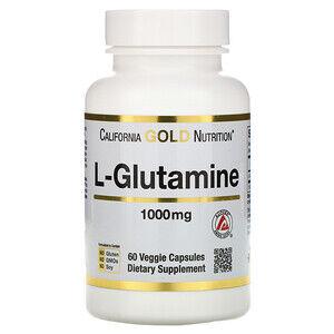 California Gold Nutrition, SPORT, L-глютамин, 1000 мг, 60 растительных кап.