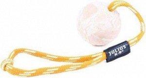 JULIUS-K9 игрушка для собак Мяч с ручкой 6см, резина, цвет шнура в ассортименте