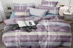 Постельное белье из пыльно-фиолетового поплина с серыми и бежевыми полосами и однотонным серым компаньоном