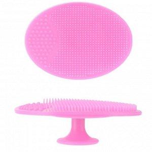 Щеточка для умывания силиконовая, цвет: бледно-розовый, 5см*6,5см