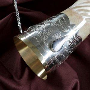 Сувенирный рог для вина, большой, со вставками
