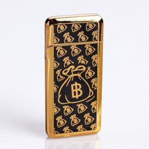 """Зажигалка электронная """"Биткоин"""" в подарочной коробке, USB, спираль, чёрно-золотая, 3.5х7 см"""