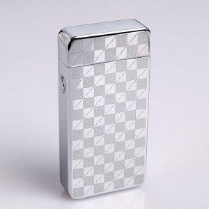 Зажигалка электронная в подарочной упаковке, USB, дуговая, серебристый узор, 3.5х7 см