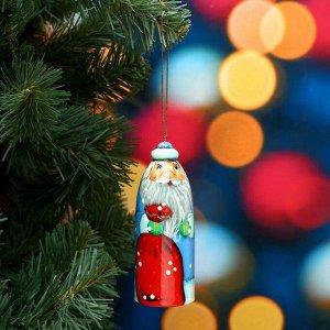 Сувенир «Дед Мороз в синей шубе». 11х4 см. ручная роспись