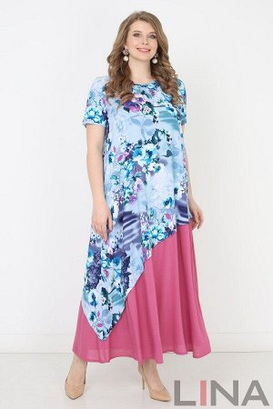 """Голубой Оригинальное длинно платье, выполненное из легкого трикотажа. Фасон модели с короткими рукавами """"реглан"""", полукруглым вырезом горловины и достаточно свободного силуэта от линии груди. Основной"""