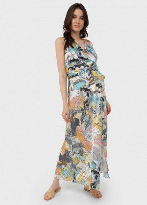 """Летнее атласное платье-сарафан с цветами для беременных и кормления """"Флора""""; лимонный"""