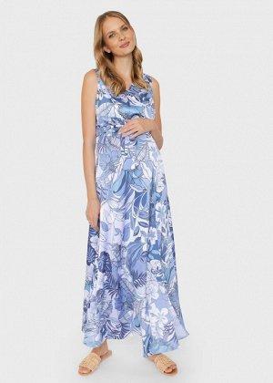 """Летнее атласное платье-сарафан с цветами для беременных и кормления """"Флора""""; голубой"""