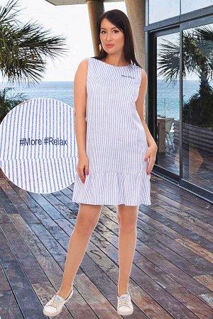 Платье Бренд: Натали Ткань: кулирка Состав: 100% хлопок Платье из кулирного набивного полотна без рукава, верх изделия с кокеткой, слева печать, низ изделия с оборкой, обработан на плоскошовной машине