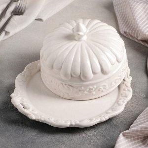 Блюдо с крышкой «Винтаж», 24,5?22?13 см, цвет белый