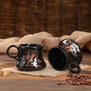 """Кофейный набор """"Глазурный"""", 3 предмета: турка 0.6 л, чашки 0.15 л, микс"""