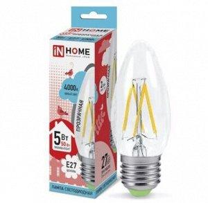 Лампа светодиодная LED-СВЕЧА-deco 5Вт 230В Е27 4000К 450Лм прозрачная IN HOME