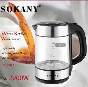 Чайник Электрочайник стеклянный SOKANY FK-1509j: ________ Материал корпуса: стекло пластик и нержавейка; ___ Объем: 1.7 л; ___ Мощность: 1800 Вт; ___ Тип нагревательного элемента: Закрытая спираль; __