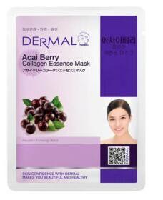 Витаминная тканевая маска для лица с коллагеном и экстрактом ягод асаи Dermal Acai Berry Collagen Essence Mask