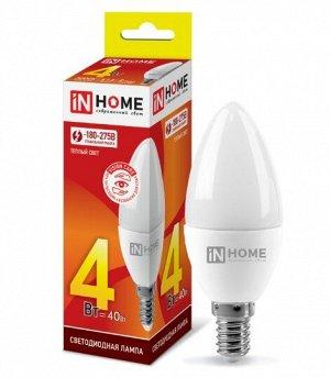 Лампа светодиодная LED-СВЕЧА-VC 4Вт 230В Е14 3000К 360Лм IN HOME