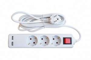 Удлинитель 3GSU-3-SMART трехместный c выключателем 2-х USB 10А с заземлением 3м 8533 IN HOME