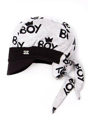 Бандана трикотажная для мальчика с козырьком на завязках, нашивка R, boy, серый