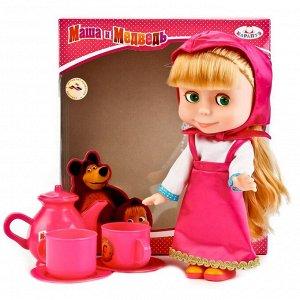 "Карапуз. Кукла ""Маша и медведь, Маша"" 25см. на бат. озвуч, с набором для чаепития. арт.83033T (9)"
