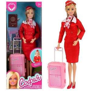 "Карапуз. Кукла ""София"" 29см стюардесса, с чемоданом и аксессуар, арт.99164-S-AN в кор."