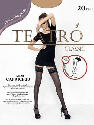 Teatro / Чулки женские, CAPRICE 20 den MAXI-XL, изысканные, контурные, капроновые с кружевной резинкой 9 см