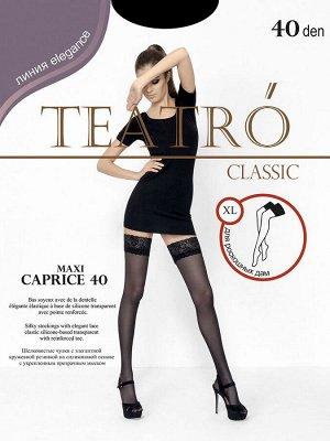 Teatro / Чулки женские, CAPRICE 40 den MAXI-XL, изысканные, контурные, капроновые с кружевной резинкой 9 см