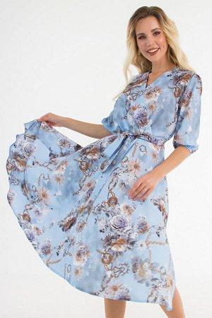 """Платье """"Флорида"""" (цветы на голубом) П1479-7"""