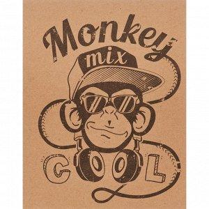 Тетрадь общая №1 School Monkey 48л., А5, скрепка,обл. крафт, цв.п...