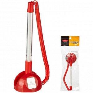 Ручка шариковая на подставке на липучке 8863 красная