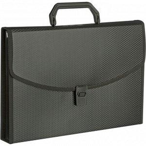 Папка-портфель 6 отдел. A4 пластик 0.7мм черный
