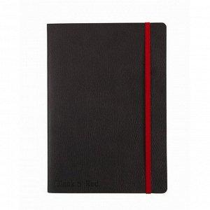 Блокнот OXFORD BLACK'n'RED А5 72л фикс.резинка, карман,...