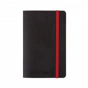 Блокнот OXFORD BLACK'n'RED А6 72л фикс.резинка, карман,...