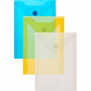 Папка-конверт на кнопке А6105x148мм, 180 мкм,Attache ассорти, 10...