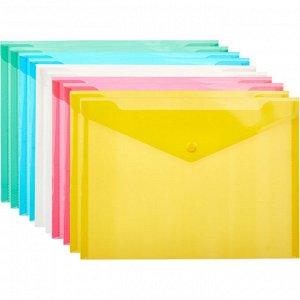 Папка-конверт на кнопке В5, 282x209мм, 180 мкм, Attache ассорти,...