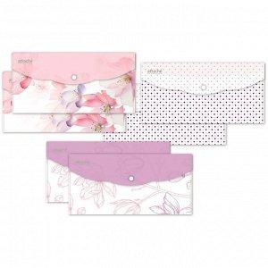 Папка-конверт на кнопке Travel, 180мкм, Flower Dreams ассорти, ...