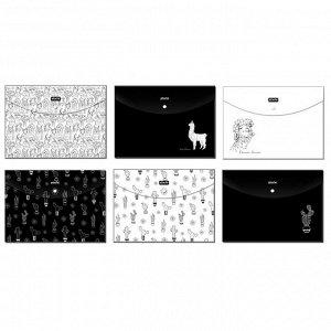Папка-конверт на кнопке А4 Attache Selection Llamas, 6шт/уп, в ас...