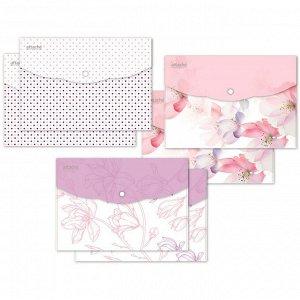 Папка-конверт на кнопке А5, 180мкм, Flower Dreams ассорти, 6 шт...