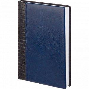 Ежедневник недатированный комбин.синий,А5,176л белый блок