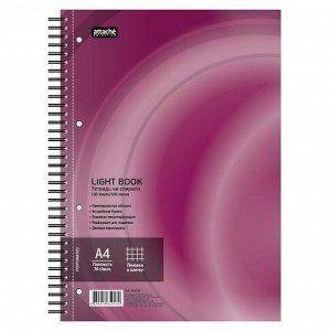 Бизнес-тетрадь 100л,кл,А4,LightBook,спираль,обл.бордо,блок белый ...