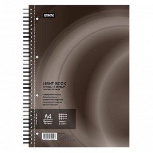 Бизнес-тетрадь 100л,кл,А4,LightBook,спираль,обл.корич,блок белый ...